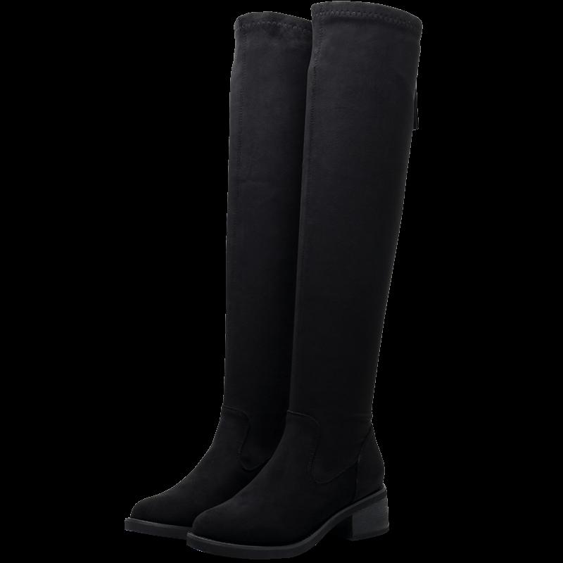 戈美其高筒靴2019冬季新款粗跟过膝长靴女瘦腿弹力靴圆头加绒女靴