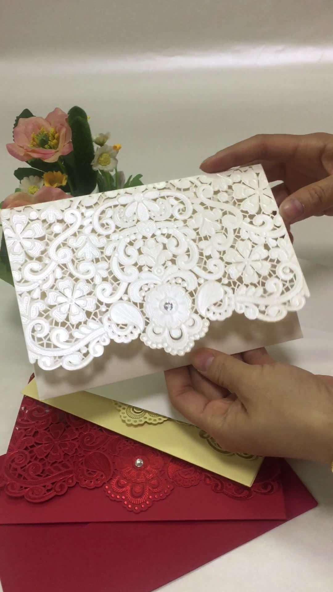 Classic Ivory Pearl Light paper Emobossing and Laser Cut Lace Wedding Invitation