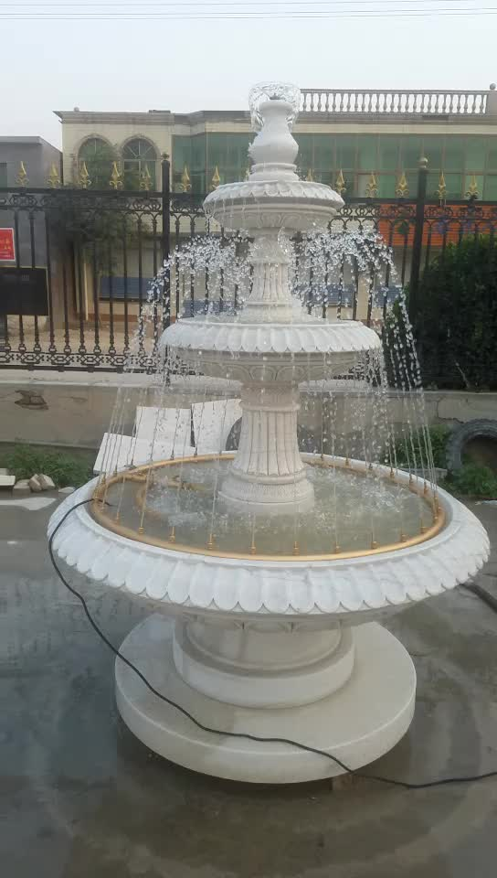 Beautiful White Marble Carving Water Fountain In Stock