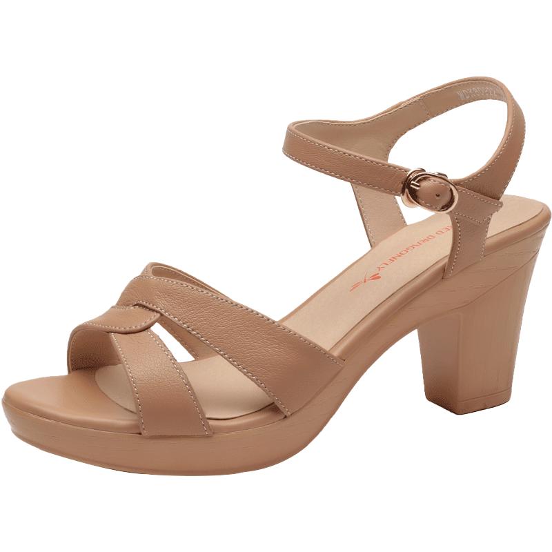 红蜻蜓女凉鞋2019夏季新款罗马粗跟坡跟一字带仙女风高跟凉鞋女鞋