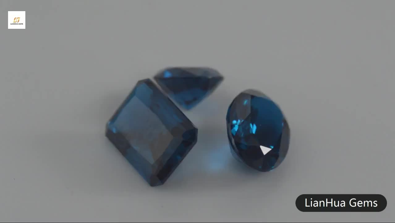 China factory direct top quality low price synthetic nano gems loose blue gemstone names for manufacture bulk sale.