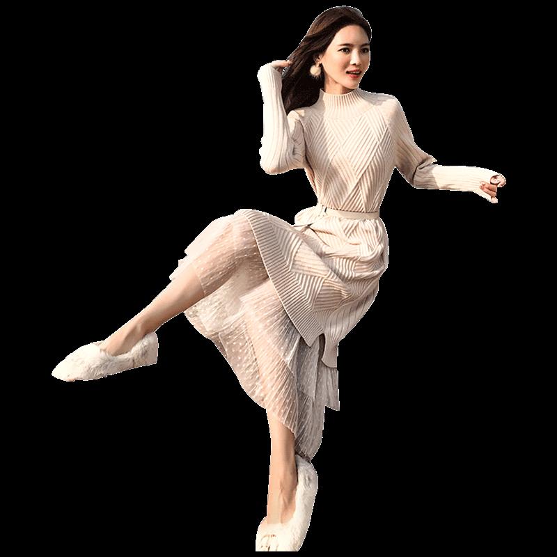 春装2019款女法式复古裙过膝毛衣裙子中长款很仙针织连衣裙女秋冬
