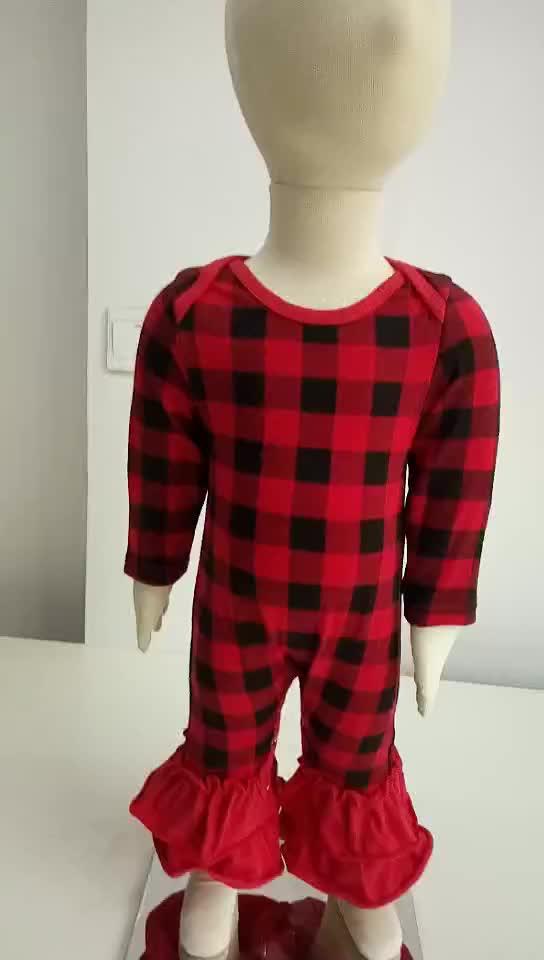 infant&toddlers buffalo plaid icing leggings romper ruffle raglan onesie jumpsuit knitted leotard cotton baby romper
