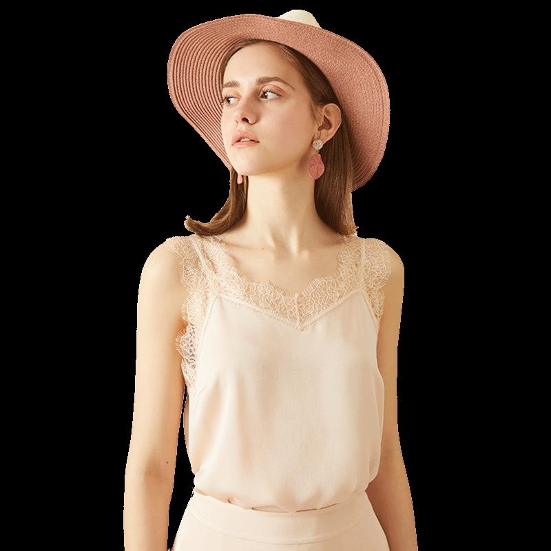 粉色蕾丝吊带女USE2019春夏装新款宽松V领内搭雪纺打底花边小背心