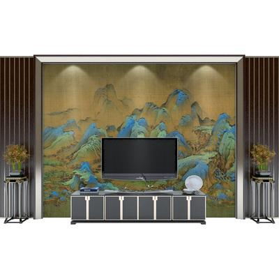古风千里江山图背景墙壁画怀旧复古无缝壁纸客厅大堂墙纸茶室墙布