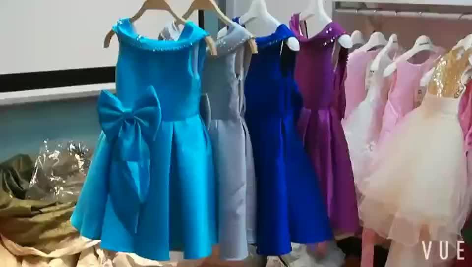 エレガントなデザイン背中の開いたドレス卸売子供のブティックの衣類の赤ん坊女の子ヴィンテージのウェディング誕生日パーティードレス