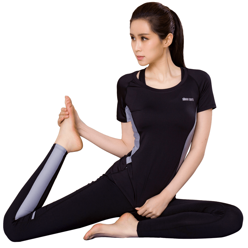 瑜伽服女春夏健身房运动套装短袖速干显瘦初学者休闲专业大码跑步