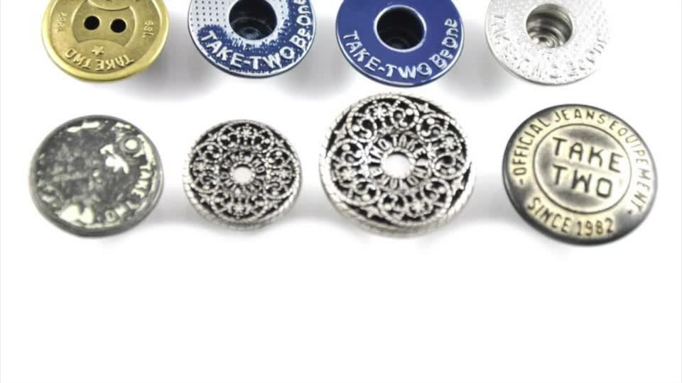 Morecredit Embossed Logo Metal Shirt Buttons Durable Metal Sewing Button Directly Factory