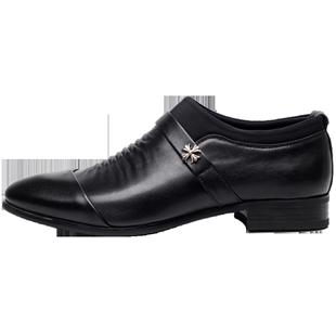 男式商務正裝男士皮鞋男真皮新郎婚禮鞋尖頭套腳黑色內增高加絨