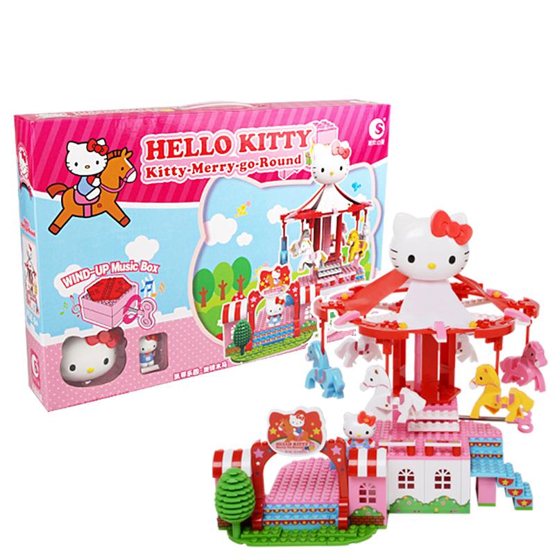 正版HelloKitty凯蒂猫音乐盒拼插积木益智玩具女孩六一儿童节礼物