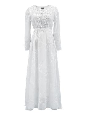 2021春夏季刺绣仙女蕾丝连衣裙长袖文艺复古显瘦收腰大摆度假长裙