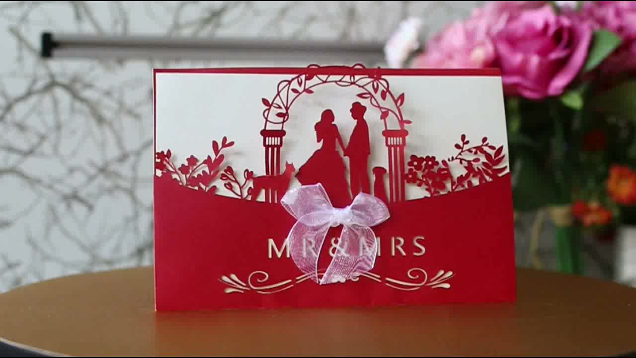Luxury Wedding Card Design Printing Wedding Invitation Box Laser Cut ...