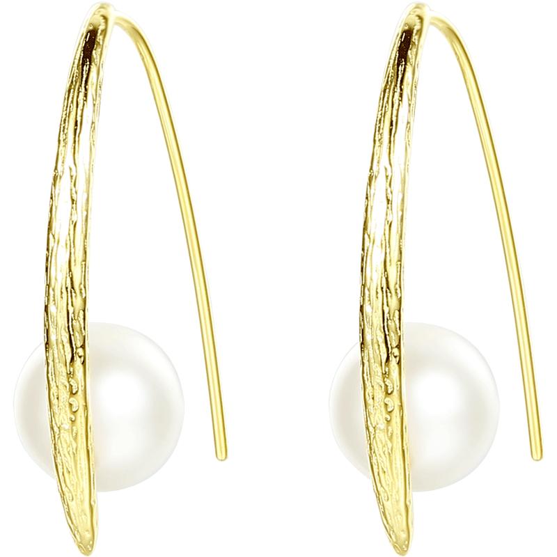 纯银耳环女个性韩国高级感耳饰金色耳挂勾显脸瘦合成珍珠耳坠小众