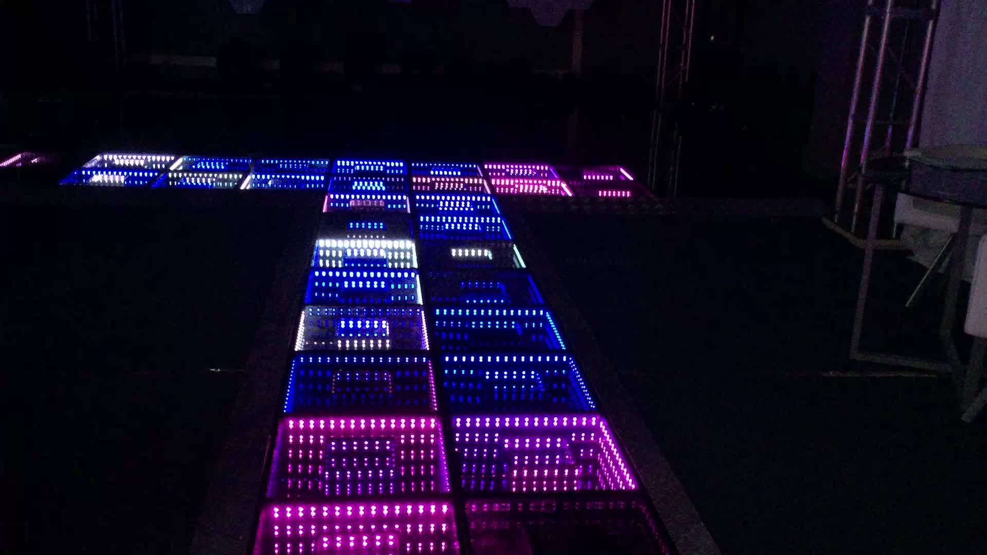 2017 ผลิตภัณฑ์ใหม่ led 3D ภาพลวงตา led กระจก led ฟลอร์เต้นรำ / ฟลอร์เต้นรำ led สีขาวสีดำ