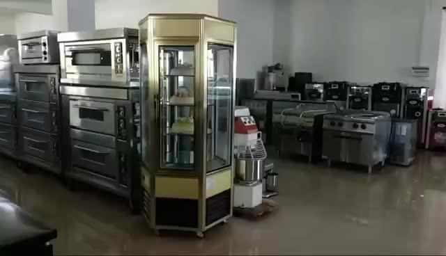 Hexagonal 3-door cake Showcase chiller, rotary cake refrigerator, 2-door cake display cooler