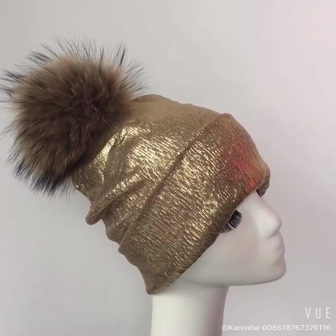 2017デザイン輝く光沢のある毛皮のボールウールビーニー女の子ファッションレディースニット帽子