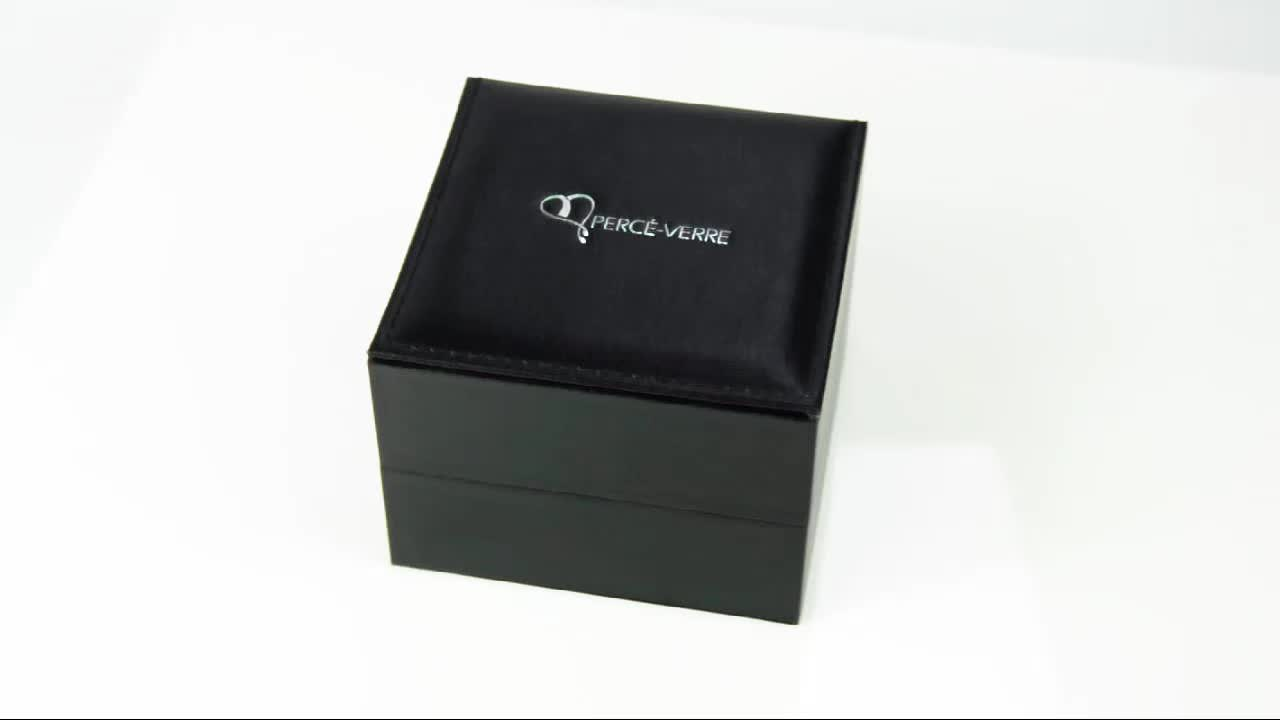 New design preto papel watch box com pillow