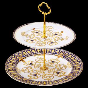 家用金边骨瓷双层蛋糕盘下午茶带架