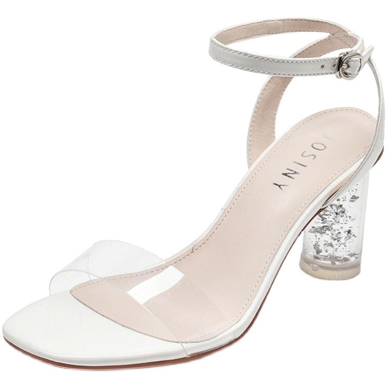 3卓诗尼2019夏季新款水晶跟风凉鞋质量好不好