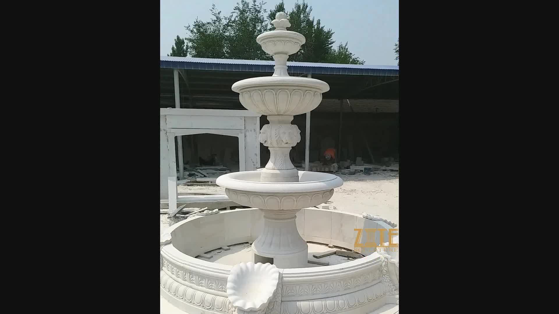 Large marble water fountain outdoor stone fountains for for Large garden stones for sale