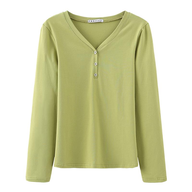 纯棉长袖v领t恤女士春秋衣打底衫评价如何