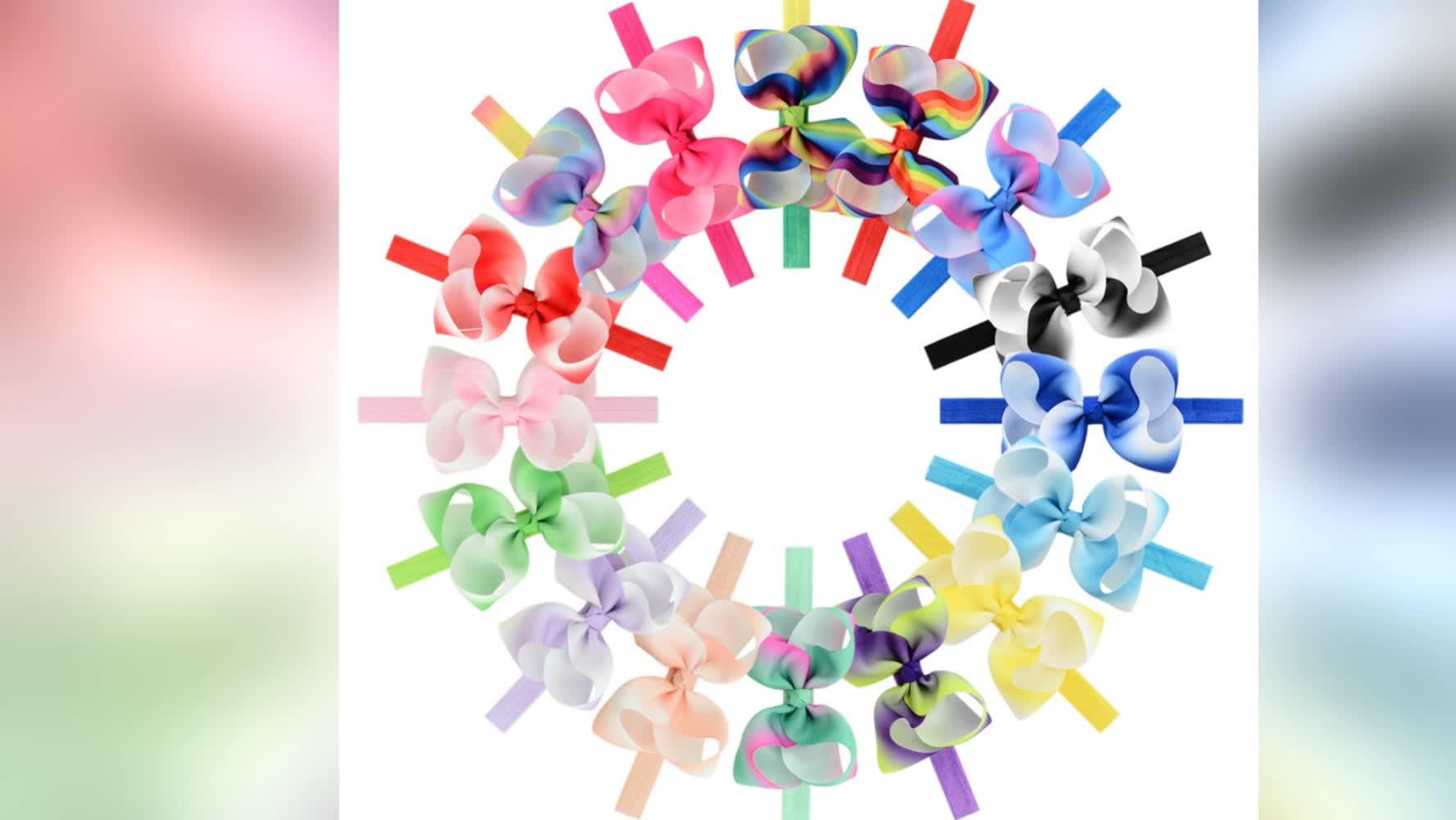 Weihnachtsregenbogen-Mädchen-elastisches Stirnband-Bogen