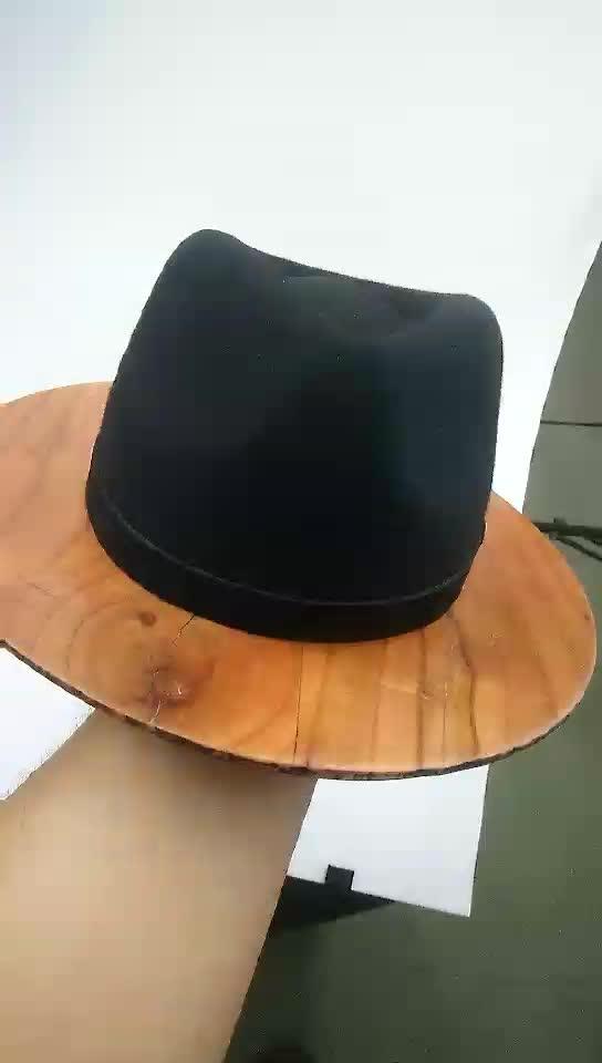 2017 Fashion Real Wood Brim Fedora Hat