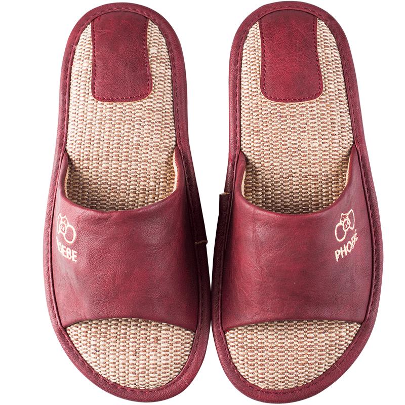 皮面亚麻拖鞋夏季家用四季情侣凉鞋