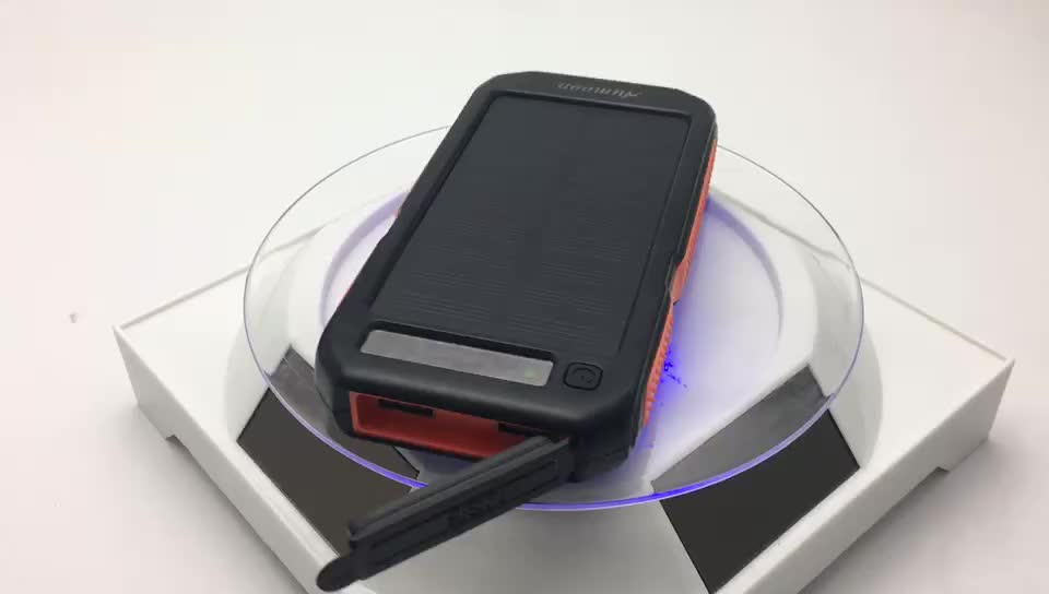 2019 Outdoor emergency 10000mAh power bank solar waterproof solar power bank charger with red light solar usb power bank