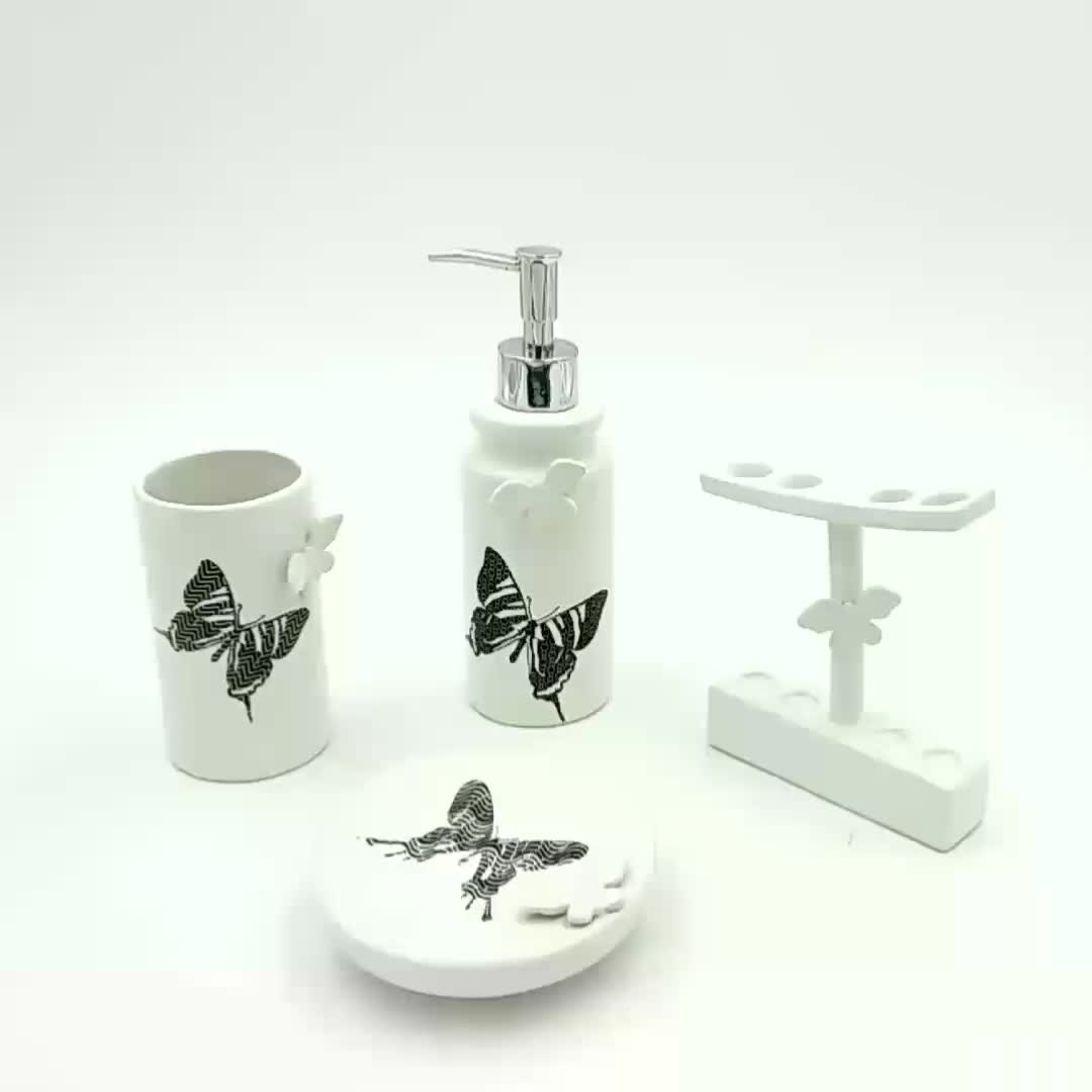 Factory Personalized 4pcs Ceramic Butterfly Bathroom Set Cute Decor