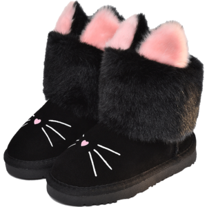 蜡笔小星童鞋女童真皮儿童雪地靴