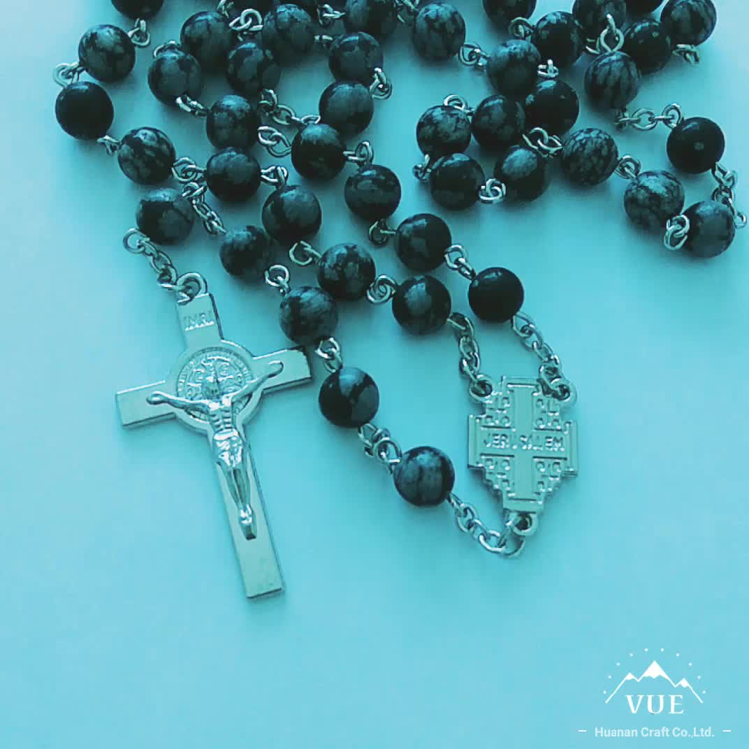 Saint black stone catholic rosary necklace with medal center
