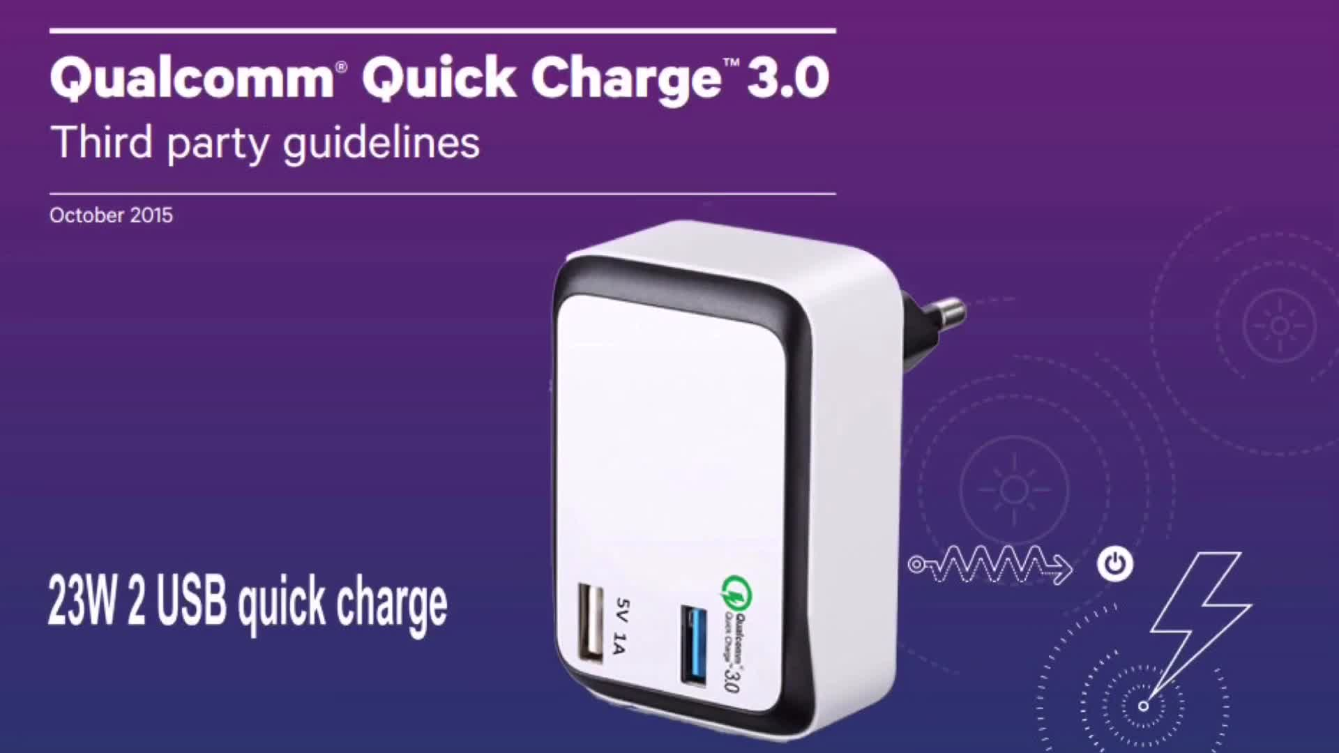 Kc Qualcomm Certified Dual Port High Power Quick Charge 3.0 Wall Charger Made In China