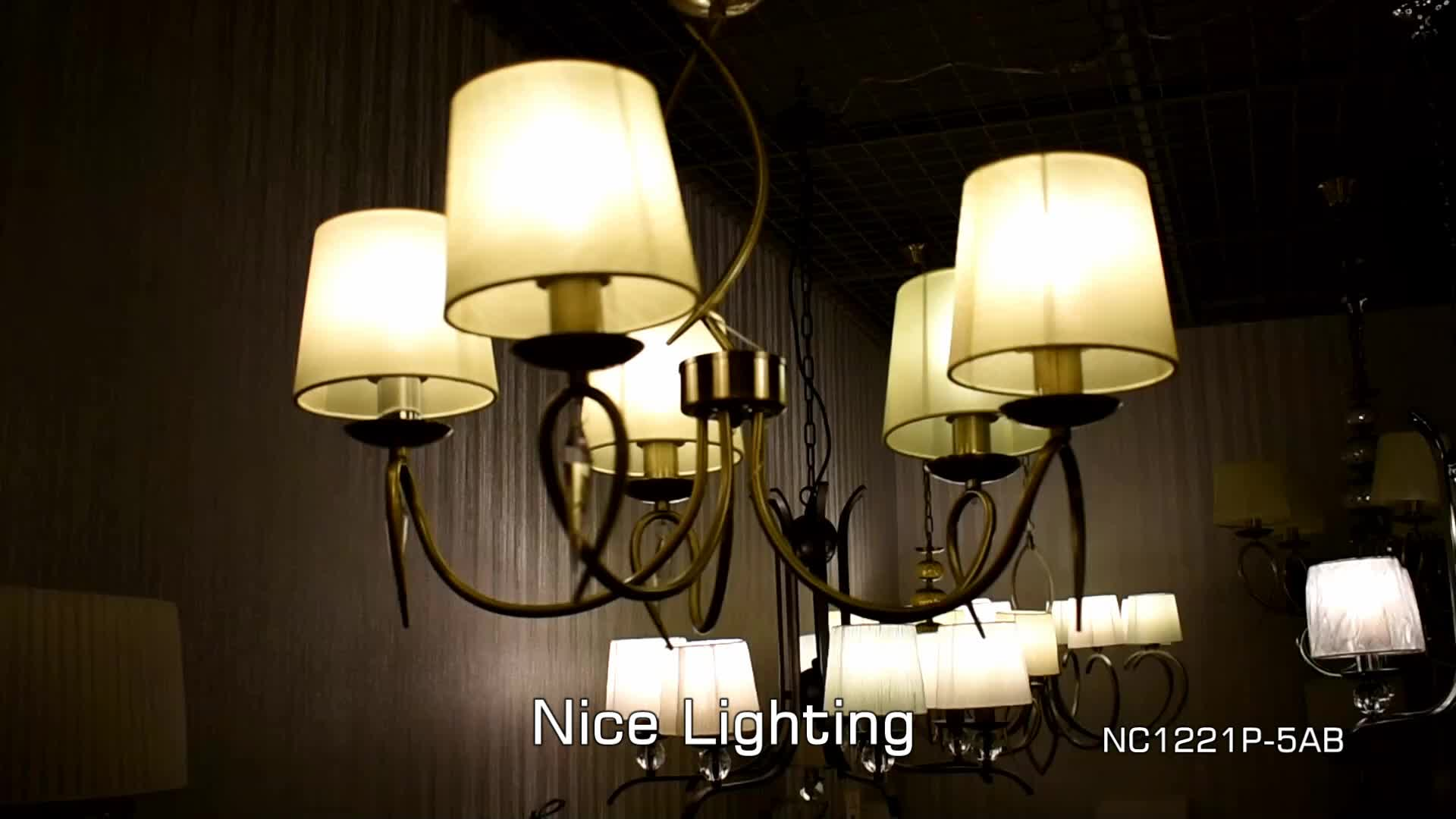 Nice Lighting 5 Light White Fabric Shade Chrome Color Dining Room Large Hotel Chandelier
