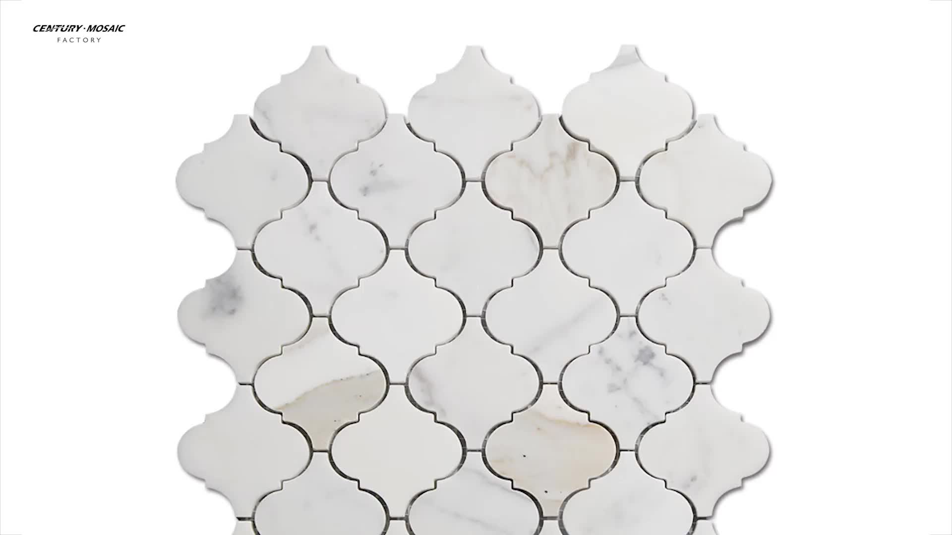 New Arrival Arabesque Polished White Calacatta Gold Mosaic Tile