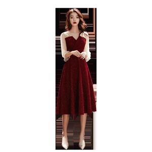 酒红色2019新款秋冬结婚新娘晚礼服