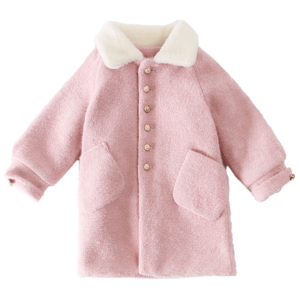 儿童女童呢子双面中长款水貂绒大衣
