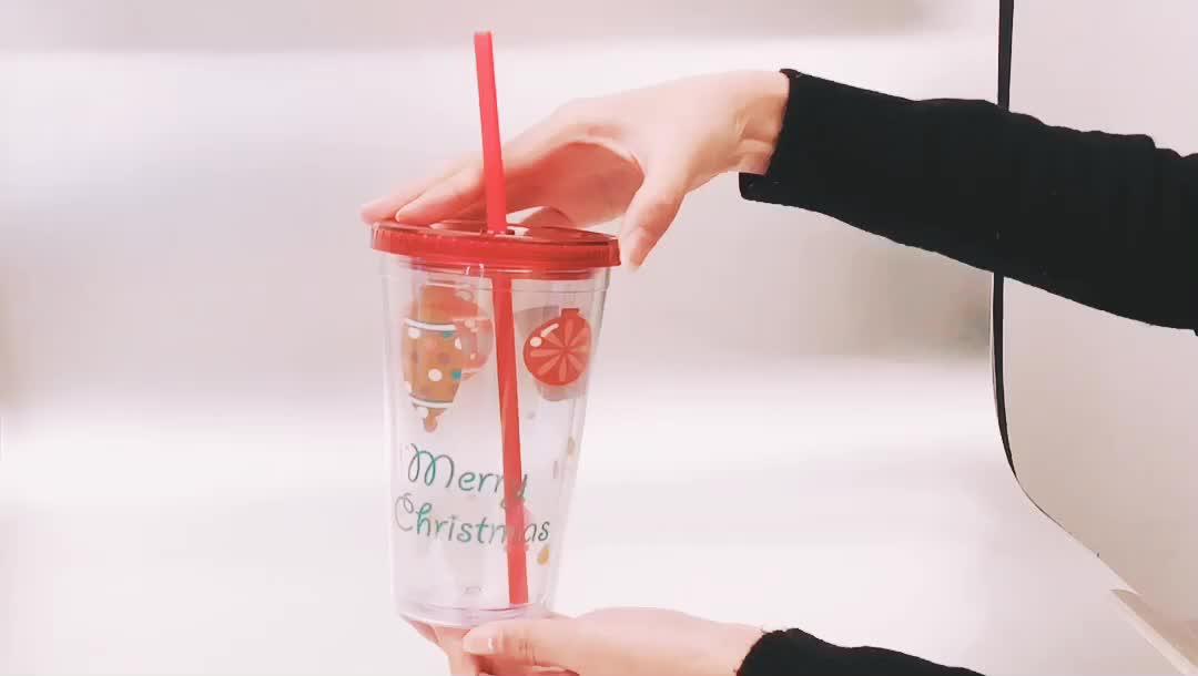 FDA プロモーション卸売二重壁ハード紙挿入再利用可能な飲用カップわらと 16 オンスプラスチックカップわらと蓋