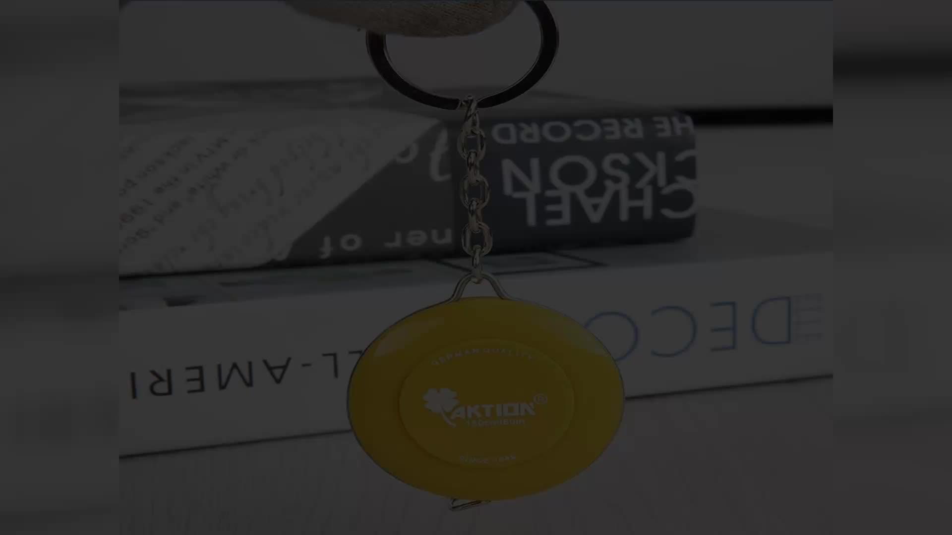Alman Kalite Geri Çekilebilir Mini Yuvarlak Mezura Anahtarlık Promosyonlar için
