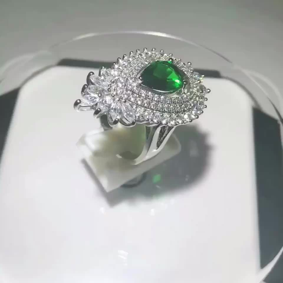 Handmade Emerald Stone Finger Ring Import Jewelry From China