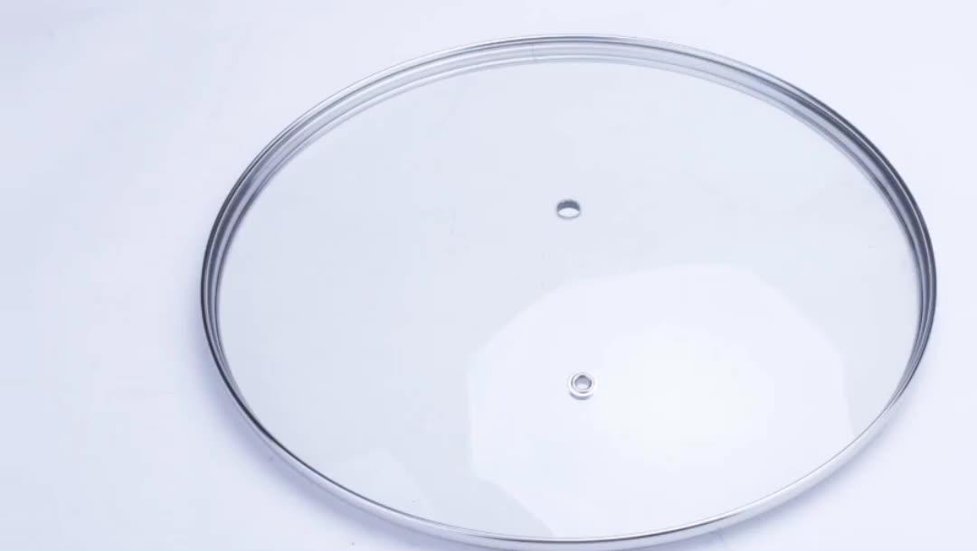 Ventas calientes pyrex pan tapa de vidrio templado para utensilios de cocina con salida de vapor de China de fábrica
