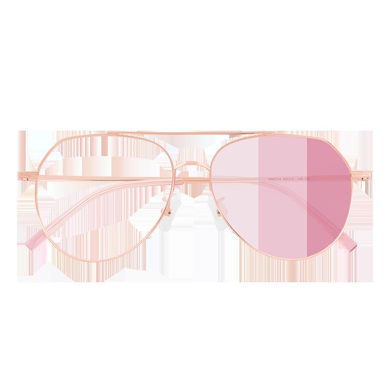 倪妮同款变色粉色眼镜框太阳镜防紫外线飞行员女可配近视度数大脸