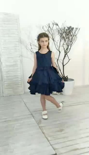 2017 real evening party dresses for little girls layers skirt bule party dress Flower Girl Dress F001