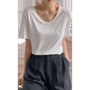 白色体桖女短袖2019夏心机v领面膜
