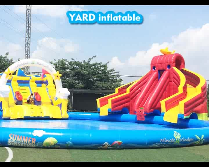 Outdoor Inflatable Carnival Wet Water Slide Pool For Kids