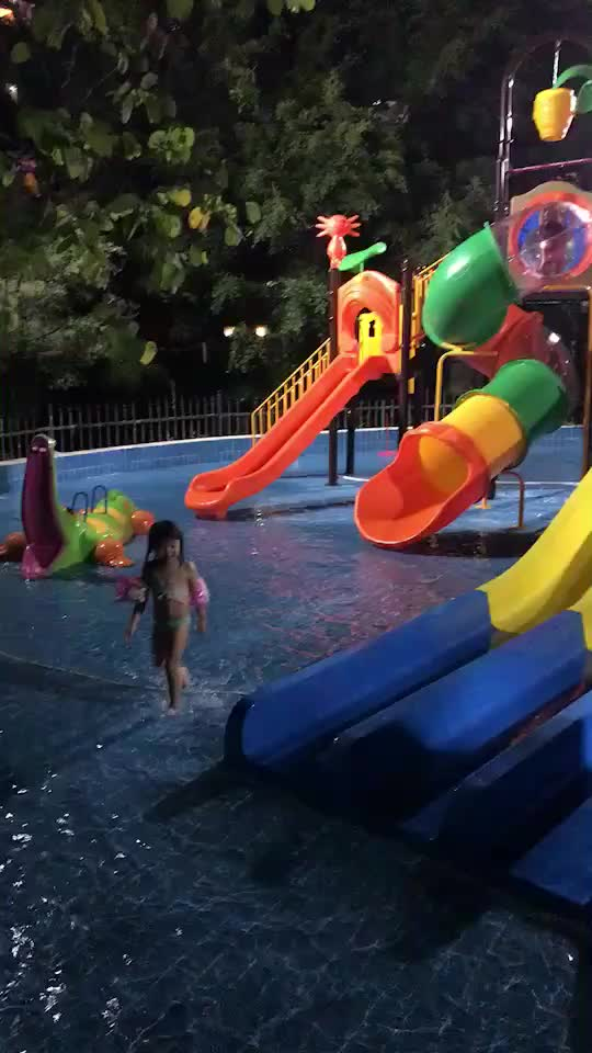 Amusement Park Equipment Outdoor Kids Plastic Slides, Slide And Swing Set