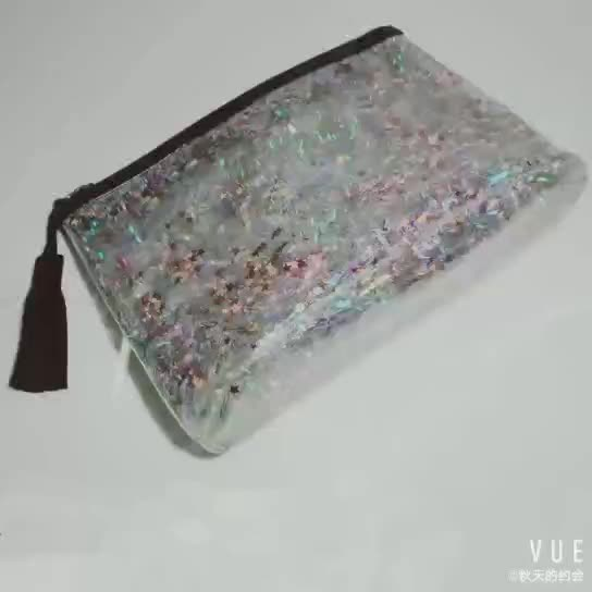 Big glitter transparent clear pvc cosmetic bag