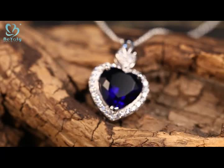 Best price rhodium plated blue agate silver pendant