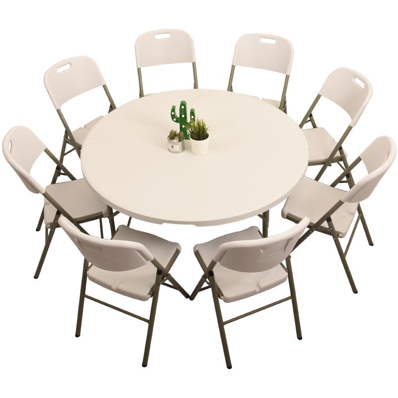 简约拆叠圆形组合家用塑料折叠桌子用后评测