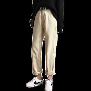 米白色直筒加绒秋冬2019新款牛仔裤